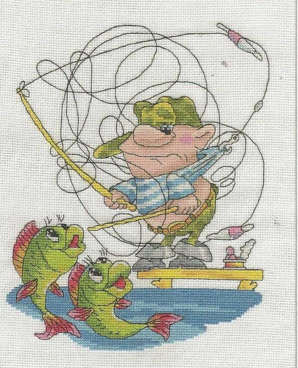 Бесплатная схема вышивки рыбаки