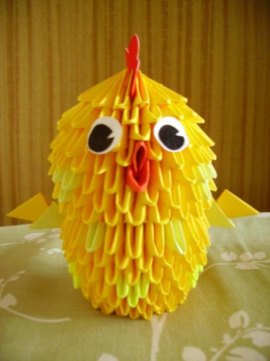 цыпленок оригами из схема модулей