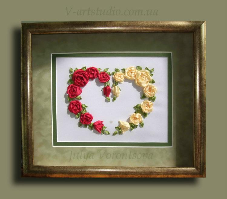Вышивка лентами сердечко из цветов 20