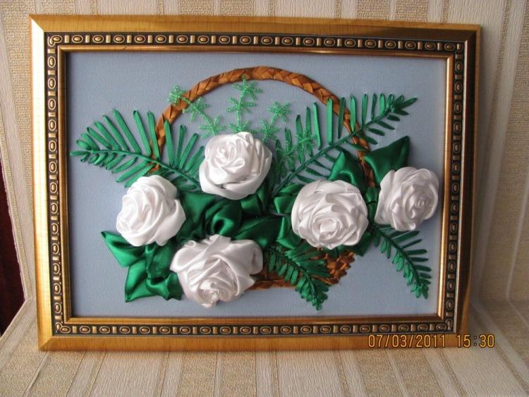 Картина цветы из атласных лент своими руками 33