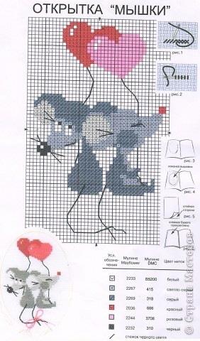 Схема вышивки крестом влюбленные мышки