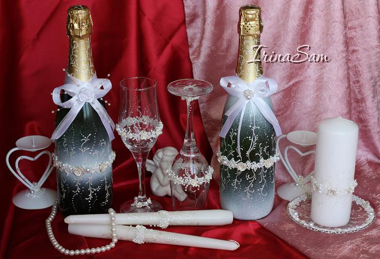 Оформление бокалов шампанского на свадьбу своими руками фото
