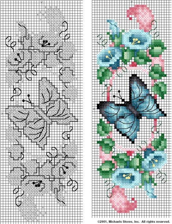 Схема вышивки крестом закладки сова