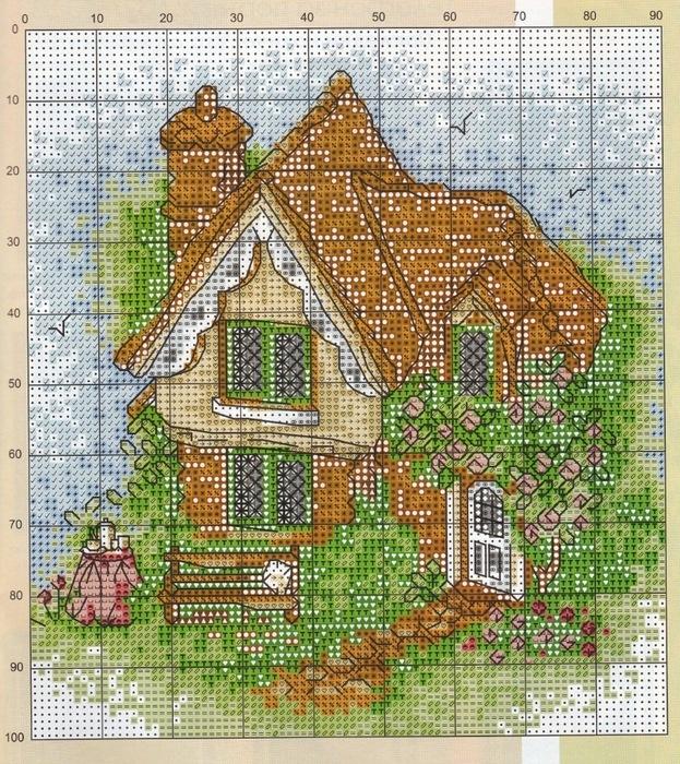 Вышивка маленькая домик