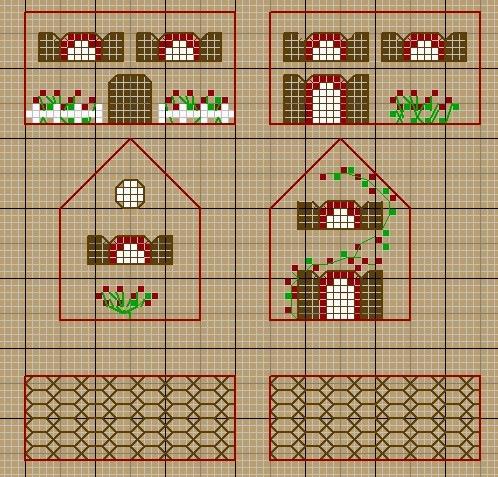 Вышивка схемы объемные домики 15