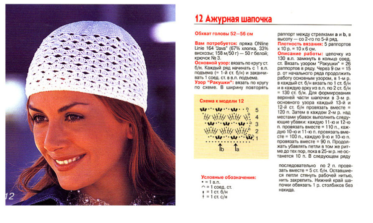 Вязание крючком летних шапочки