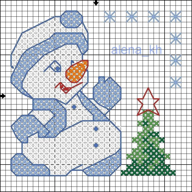 Вышивка снеговиков схемы