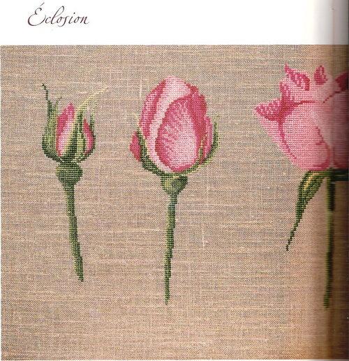 Вышивки крестом бутонов роз