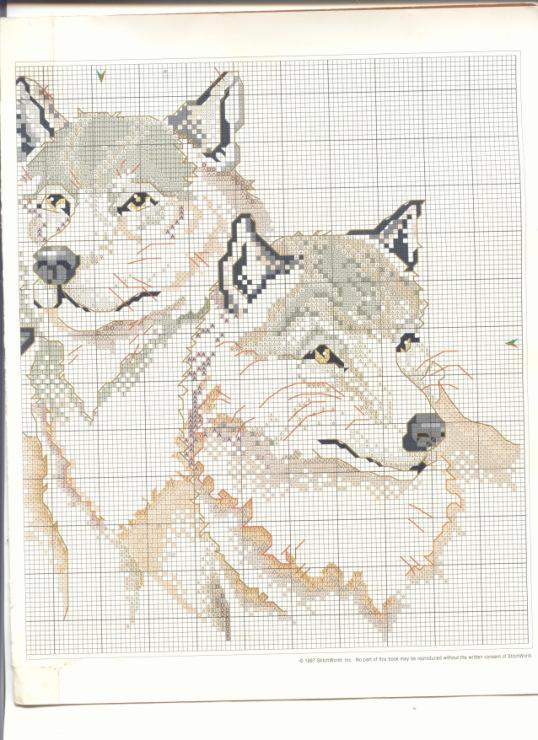 Схема для вышивки белые волки 828