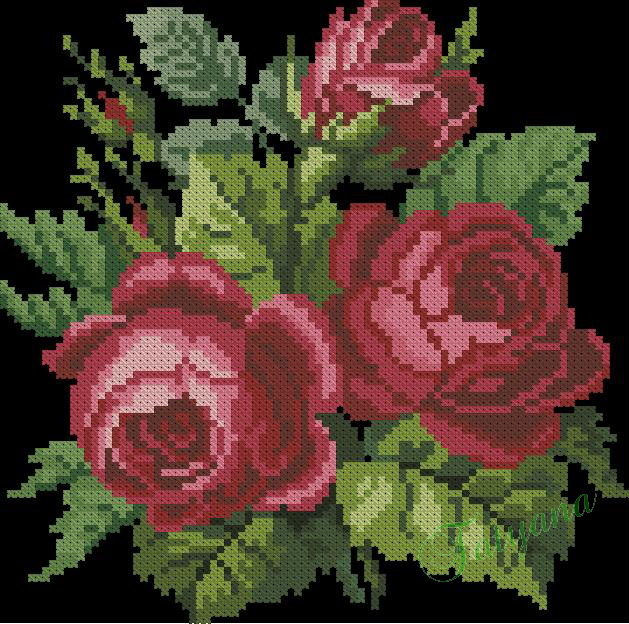 Вышивка крестом винтажная роза 65