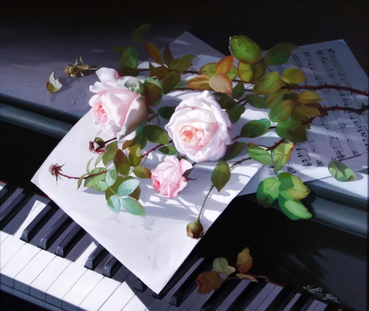 Открытки пианино с цветами 92