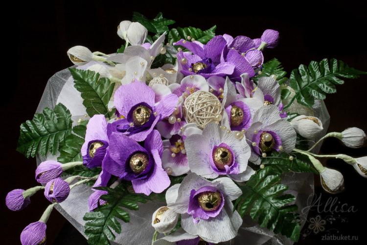 орхидеи из конфет и гофрированной бумаги своими руками