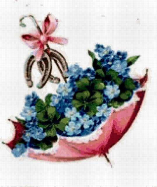 Вышивка крестом зонтик с цветами схемы 3