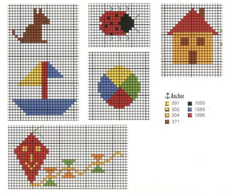 Простые образцы вышивки крестом 35