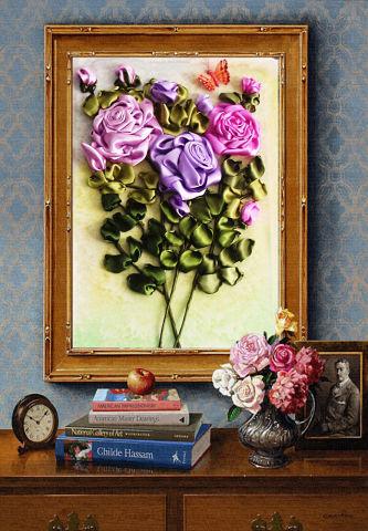 Вышивка лентами картины розы с листочками 1