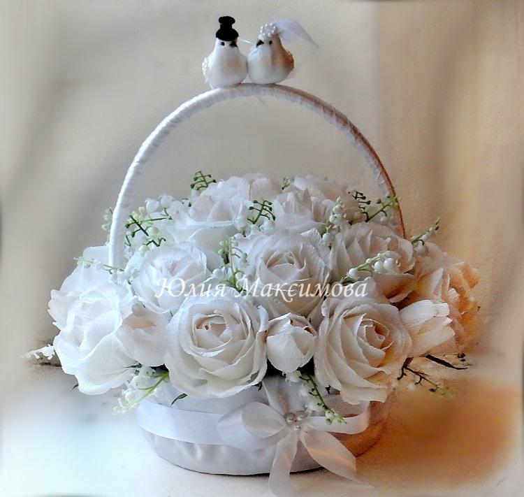 Букет из конфет в корзине на свадьбу