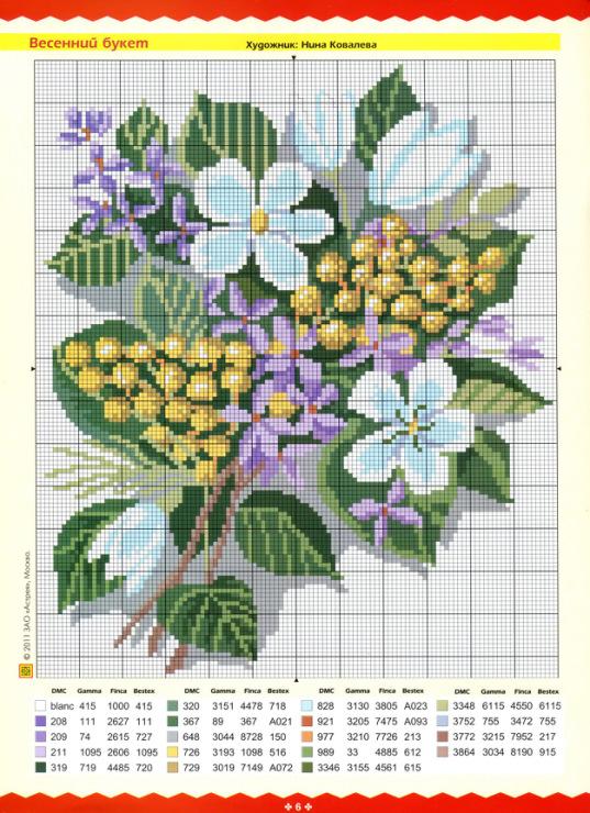 Схемы по вышивке крестом цветы