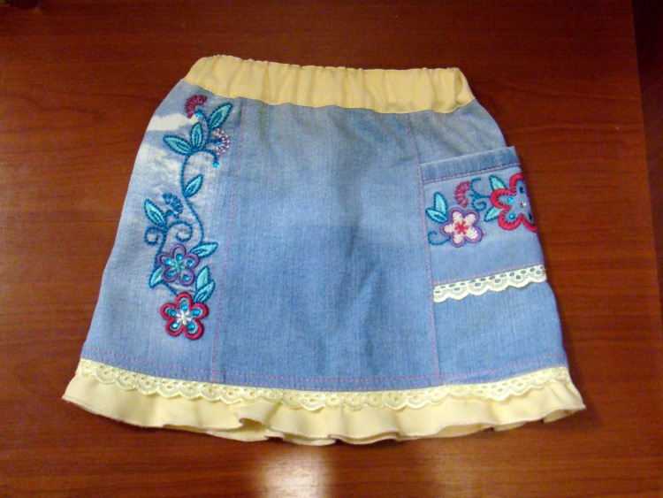 Юбки для девочек из старых джинсов сшить 146
