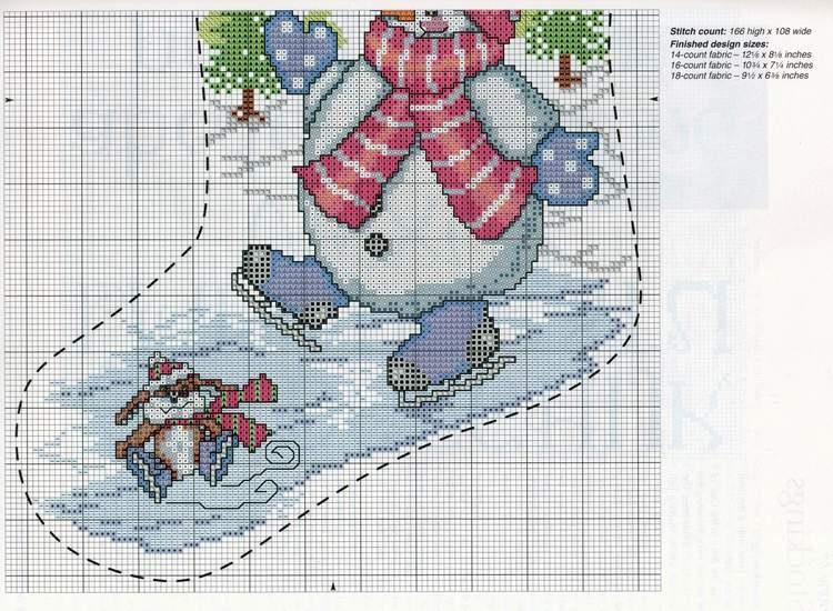Схема вышивки новогоднего сапожка 77
